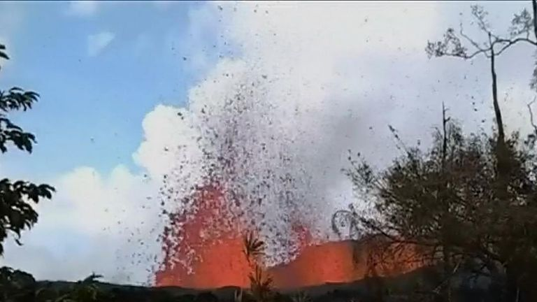 Lava destroys man's garden in Hawaii