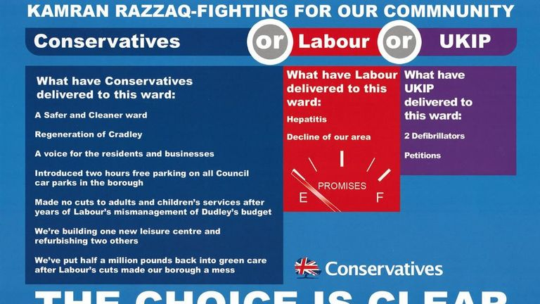The leaflet accuses Labour of bringing hepatitis to the area