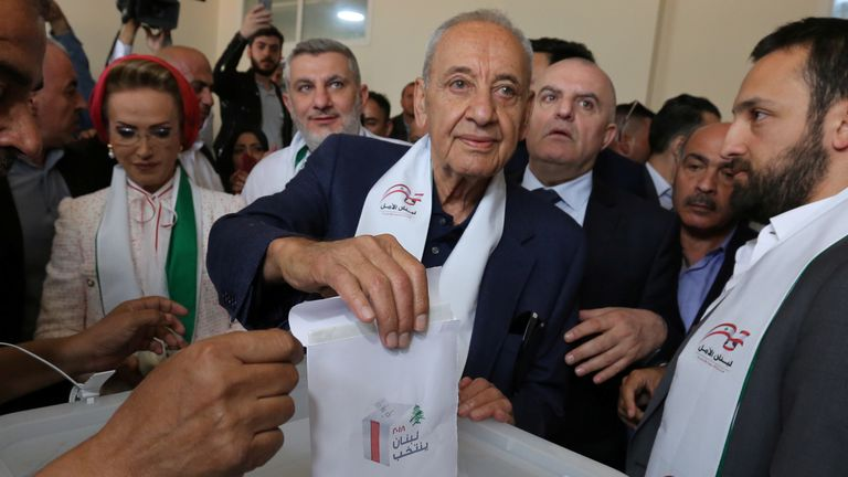 Lebanese Parliament Speaker and candidate for parliamentary election Nabih Berri casts his vote at a polling station during the parliamentary election in Tibnin, South Lebanon, May 6, 2018. REUTERS/Aziz Taher