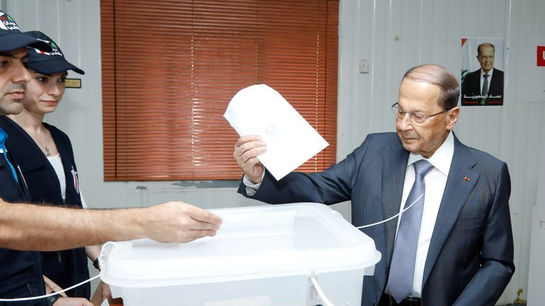 Lebanese President Michel Aoun casts his ballot during parliamentary elections, in Beirut, Lebanon, May 6, 2018. Dalati Nohra/Handout via REUTERS THIS IMAGE HAS BEEN SUPPLIED BY A THIRD PARTY.