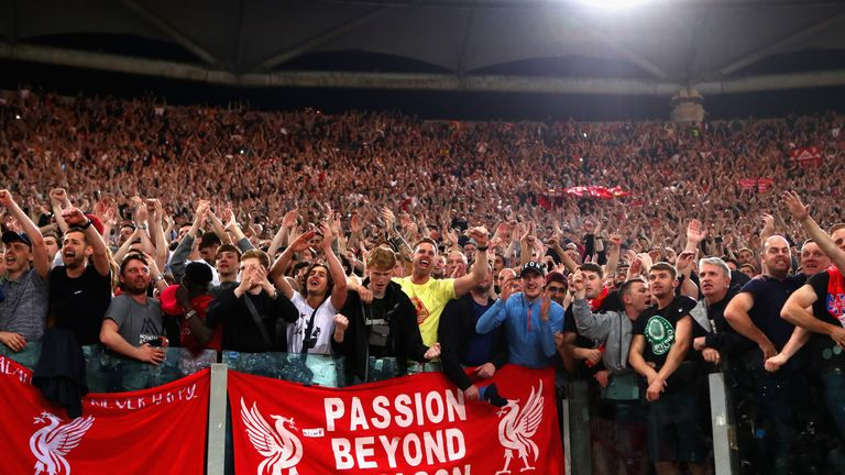 Hundreds of Liverpool fans made the trip to Roma to watch their side book a place in the Champions League final