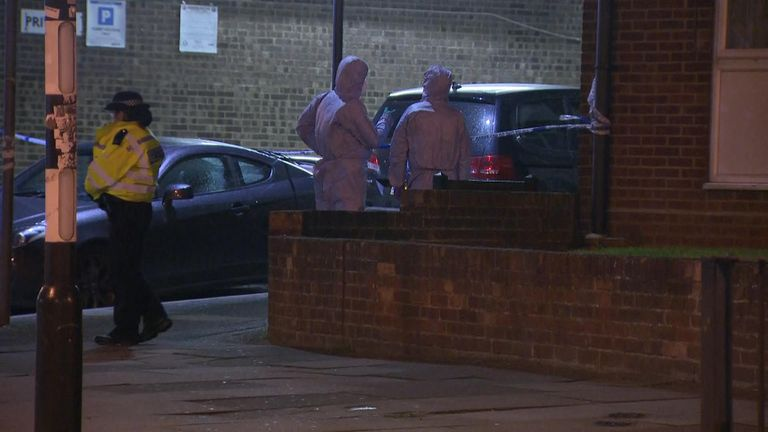Forensics analysts worked through the night at the murder scene in Queensbury