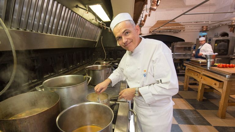 Royal chef Mark Flanagan making preparations for the wedding in the kitchens at Windsor Castle last week