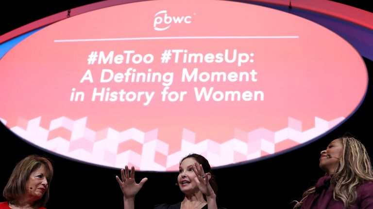 Ashley Judd (C) speaks alongside U.S. Rep. Jackie Speier (L) and Co-Founder of We Said Enough Adama Iwu