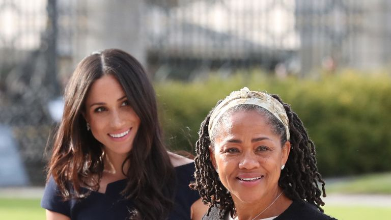 Meghan Markle and her mother, Doria Ragland, arriving at Cliveden House Hotel on the National Trust's Cliveden Estate to spend the night before her wedding to Prince Harry. PRESS ASSOCIATION Photo. Picture date: Friday May 18, 2018. See PA story ROYAL Wedding. Photo credit should read: Steve Parsons/PA Wire