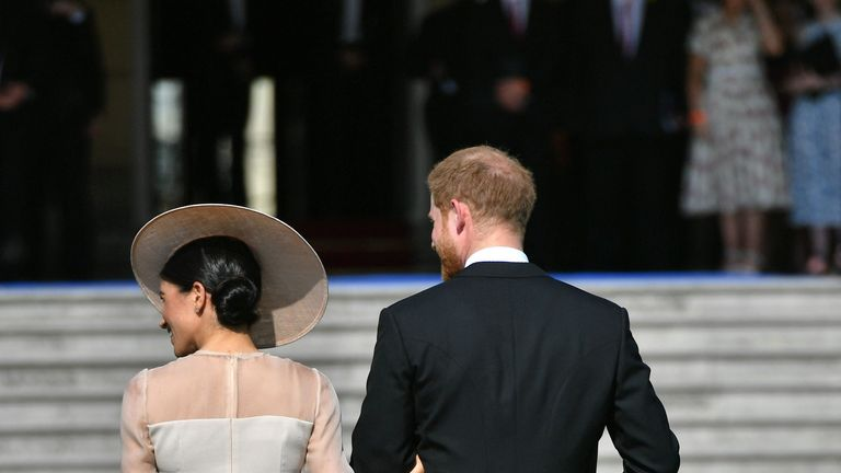The Duke and Duchess of Sussex at their first royal engagement as a married couple.