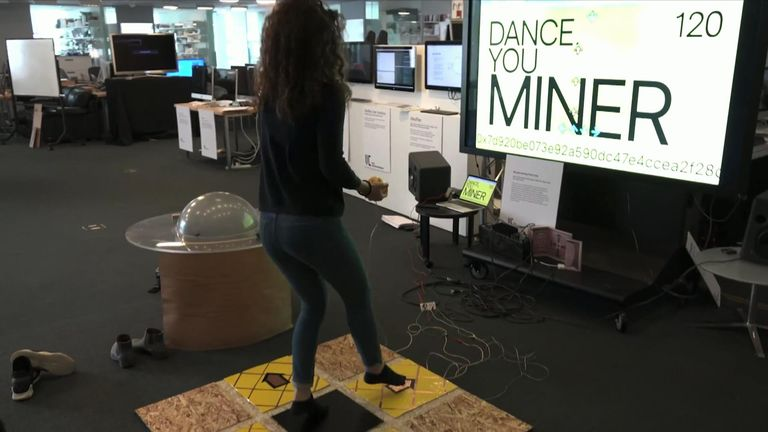 Viral Communications students Agnes Cameron and Kalli Retzepi made a Dance Dance Revolution mat that mines cryptocurrency on a private Ethereum blockchain.