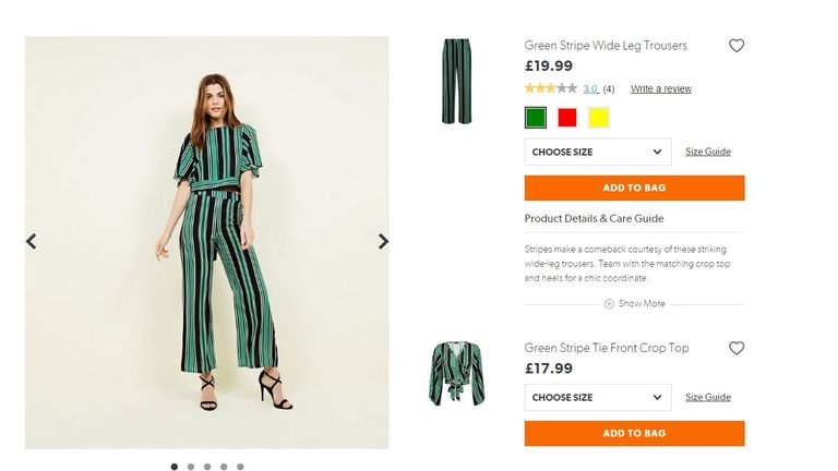 New Look's green stripe standard-size trousers cost £19.99 - compared with £22.99 for plus-size - standard pictured