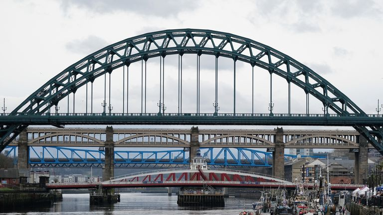 The view of Newcastle's bridges along the River Tyne