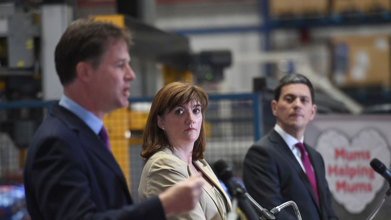Liberal Democrat former deputy PM Sir Nick Clegg (left), Tory ex-education secretary Nicky Morgan (middle) and Labour former foreign secretary David Miliband (right) spoke together