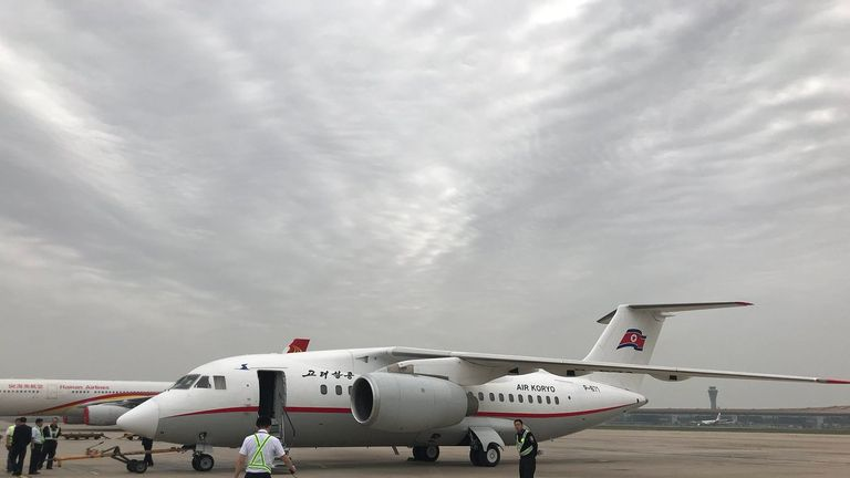 The journalists were flown to Wonsan on this small plane operated by  Air Koryo, North Korea's national carrier