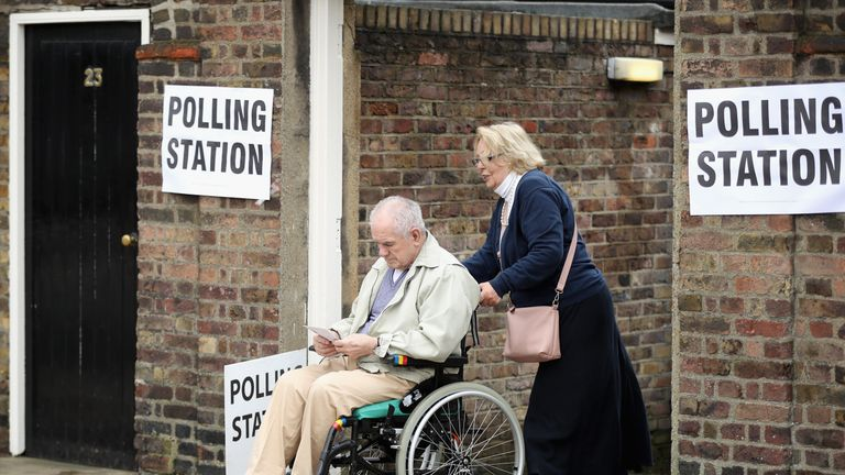 Chelsea pensioners cast their votes in the EU referendum at Chelsea Hospital on June 23, 2016 in London, United Kingdom. The United Kingdom has gone to the polls to decide whether or not the country wishes to remain within the European Union. After a hard fought campaign from both REMAIN and LEAVE the vote is too close to call. A result on the referendum is expected on Friday morning.