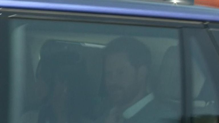 Meghan Markle and Prince Harry arriving at Windsor