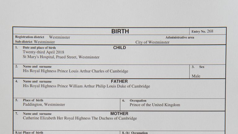 The official birth register entry of Prince Louis Arthur Charles of Cambridge
