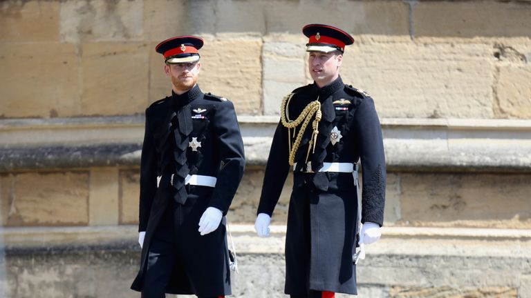 Prince William and Harry before his wedding to Meghan Markle