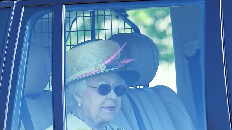 Queen Elizabeth leaves Windsor Castle the day after her grandson Prince Harry married Meghan