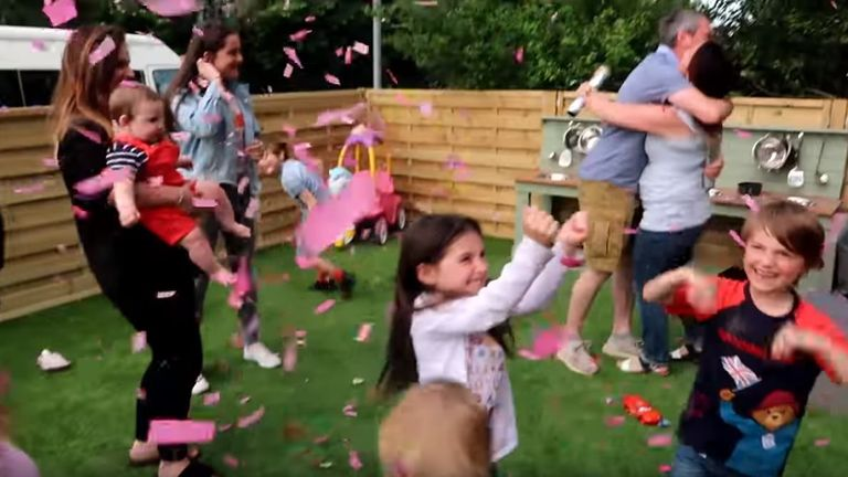 The Radford family celebrate the announcement of a baby girl expected in November