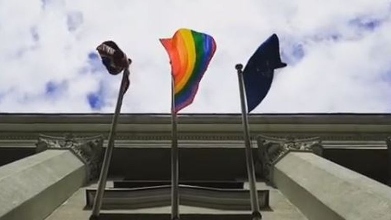 The rainbow flag flying outside the British embassy in Minsk. Pic: British Embassy Instagram