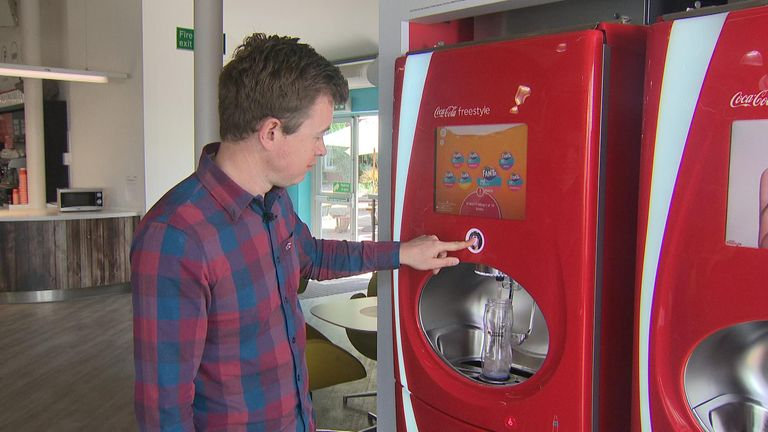 Students choose their drink after pre-paying through the bottom of the bottle