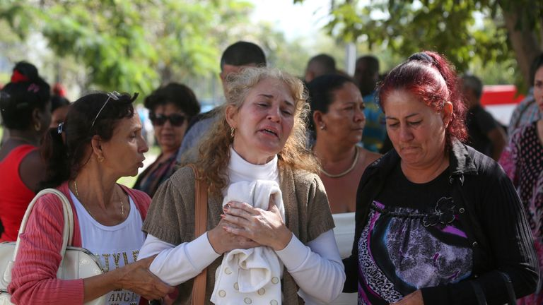 Relatives of the crash at a hospital in Havana