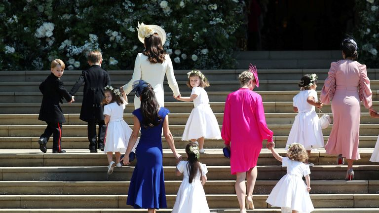 The Duchess of Cambridge arrives with the bridesmaids