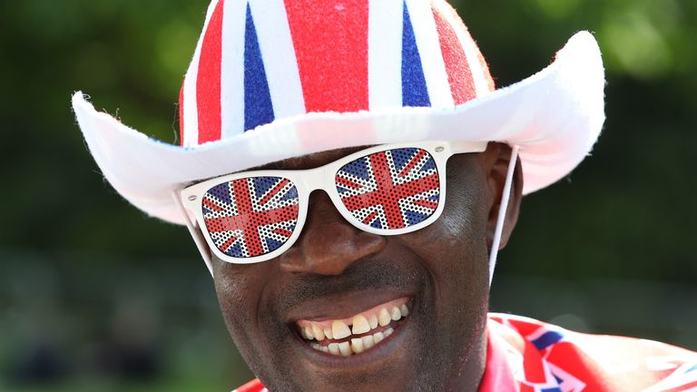 A royal fan ahead of the royal wedding of Prince Harry and Meghan Markle