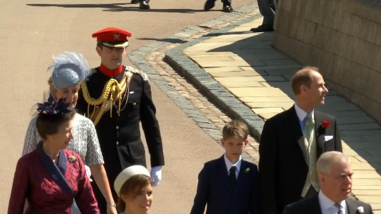 Members of the Royal Family arrive in Windsor for the royal wedding