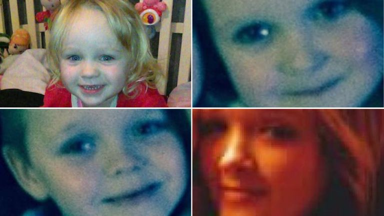 From top left: Lia, three, Lacie, seven, Brandon, eight and Demi, 15. Pics. Facebook