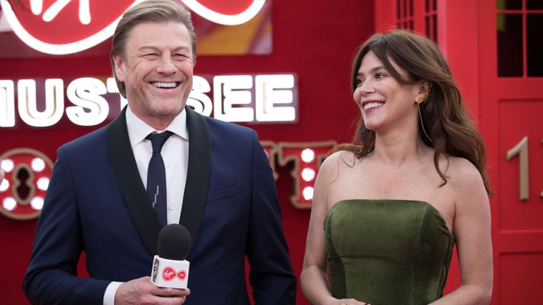 EDITORIAL USE ONLY Sean Bean and Anna Friel spill the beans to Virgin TV's red-carpet host Roman Kemp in Virgin TV's Must-See Moment Lounge at the Virgin TV British Academy Television Awards. PRESS ASSOCIATION Photo. Picture date: Sunday May 13, 2018. Photo credit should read: David Parry/PA Wire