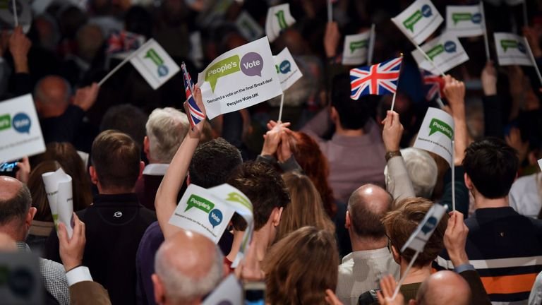 Delegates attend a launch event for the Peoples Vote campaign in London on April 15, 2018 calling for a referendum on the final Brexit deal. A new cross-party campaign for a referendum on Britain's EU departure deal launched on April 15, insisting the British public -- and not just politicians -- should be given a say. / AFP PHOTO / Ben STANSALL (Photo credit should read BEN STANSALL/AFP/Getty Images)