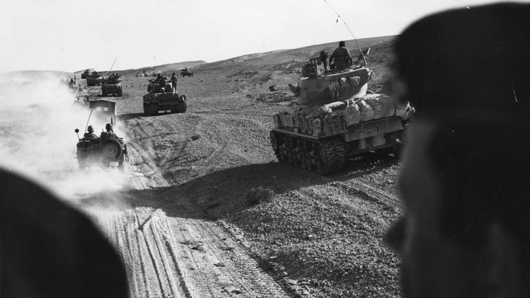 Israeli forces advancing in tanks in the Sinai Desert in 1967 during the Six Day War