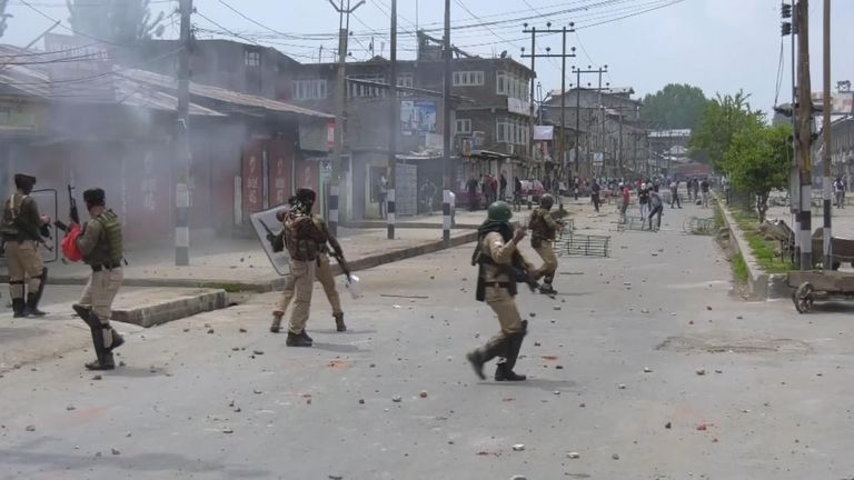 Residents took to the streets across southern Kashmir