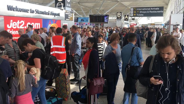 Jet2 and Ryanair flights have been affected in Stansted