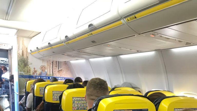 People stuck on a flight to Ibiza more than 90 minutes after planning take-off. Pic: Emily Morgan