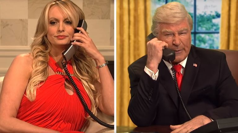 Stormy Daniels appeared on SNL and lampooned the President, played by Alec Baldwin. Credit: SNL