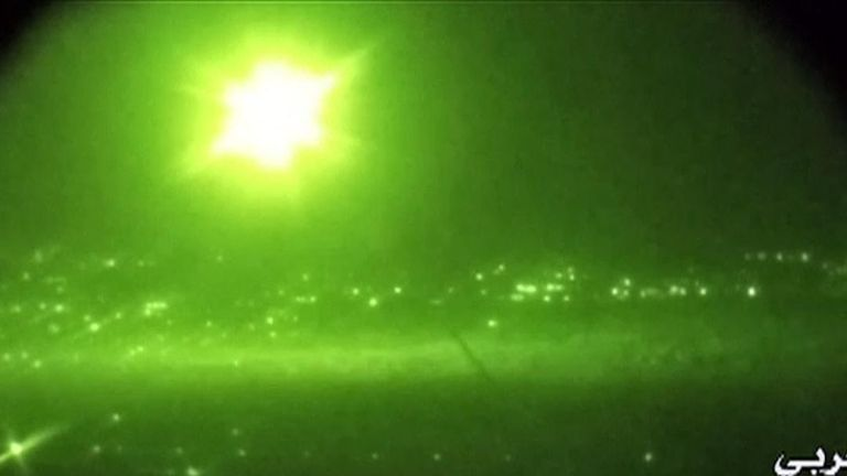 Syrian central military media has released a video of what it claimed was Syrian air defences intercepting Israeli missiles over Damascus