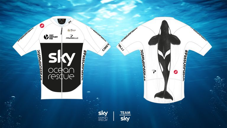 The Ocean Rescue-branded Team Sky jersey