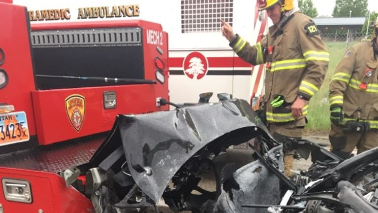 The Tesla Model S crashed into a fire department mechanics truck. Pic: South Jordan Police Department