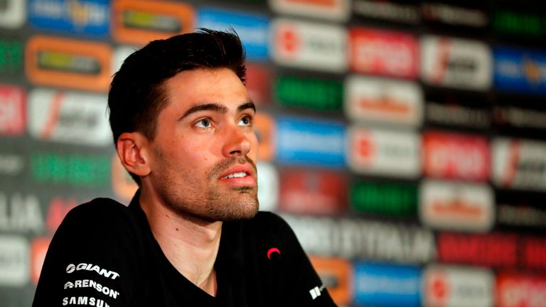 Dutch cyclist Tom Dumoulin of Team Sunweb speaks during a press conference in Jerusalem on May 2, 2018