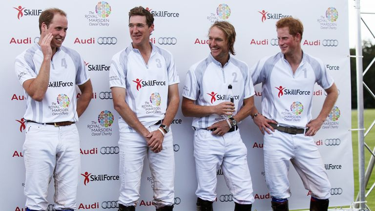 (L-R) Prince William, polo players Luke Tomlinson and Mark Tomlinson, and Prince Harry