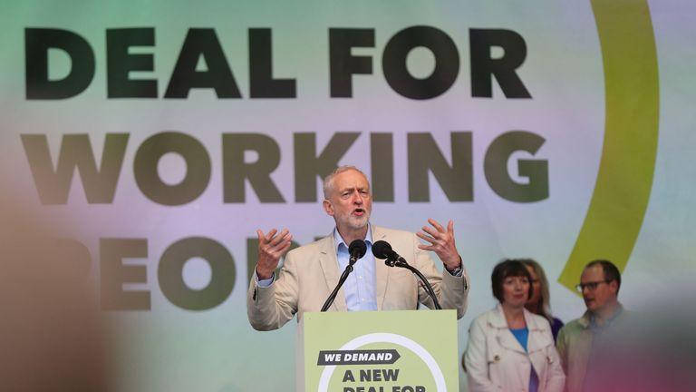 Jeremy Corbyn addressed the crowds