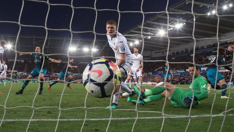 Southampton's Manolo Gabbiadini celbrates scoring the goal at Swansea that sent West Brom down