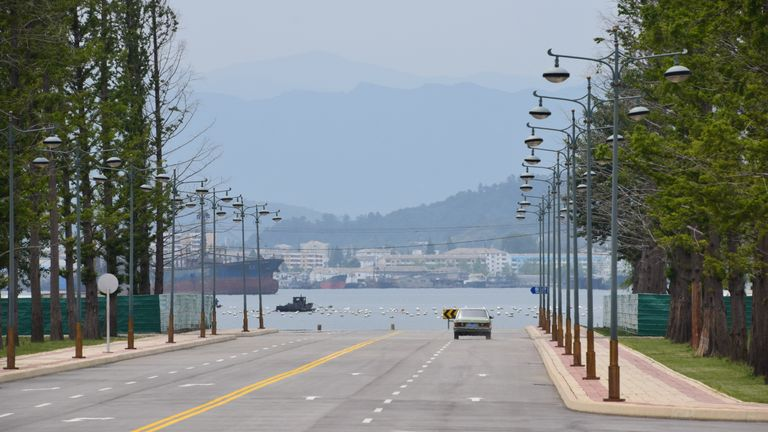 Entering Wonsan city in southeast North Korea