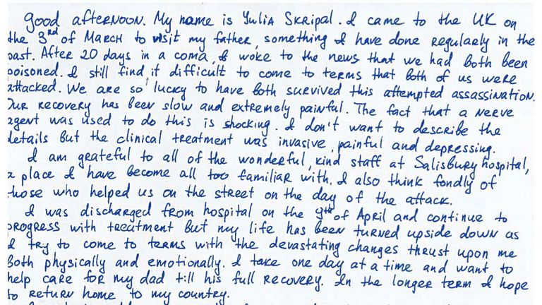 Ms Skripal's handwritten statement