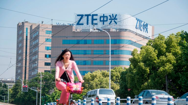This picture taken on May 3, 2018 shows the ZTE logo on an office building in Shanghai