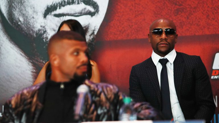 e5309eb78858 President of Mayweather Promotions Floyd Mayweather looks on during the  press conference announcing the Badou Jack