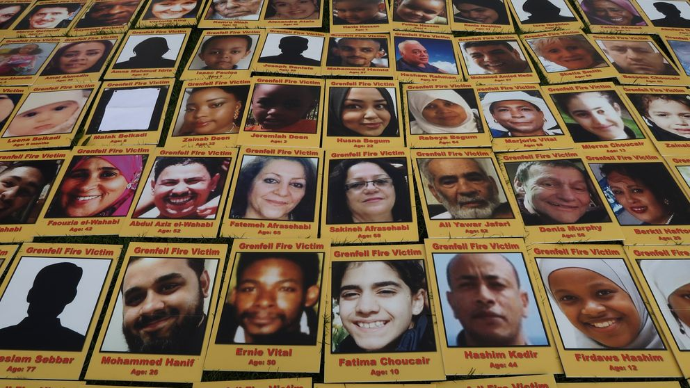 Images of people who lost their lives in the Grenfell Tower fire displayed in Parliament Square on May 14 2018
