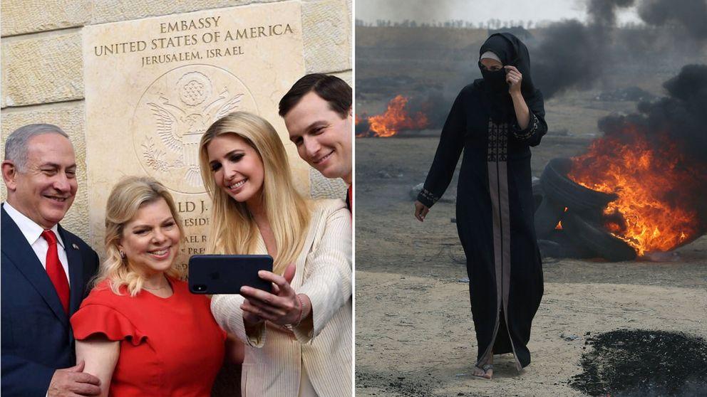 The Netanyahus and Kushners celebrated while dozens of Gazans died