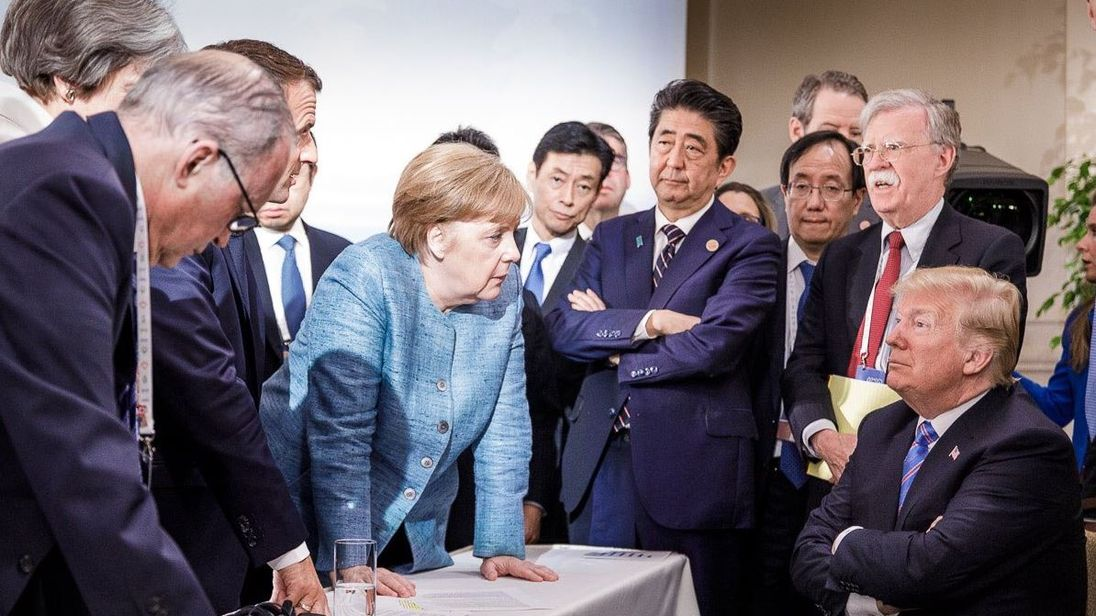 Merkel-Trump G7 face-off photo headed for history books