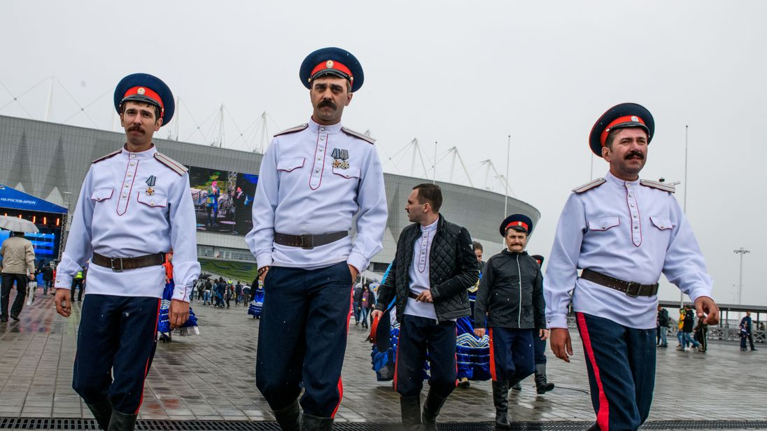 Cossacks outside the Rostov Arena in southern Russia